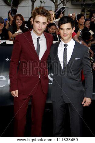 HOLLYWOOD, CALIFORNIA - June 24, 2010. Robert Pattinson and Taylor Lautner at the