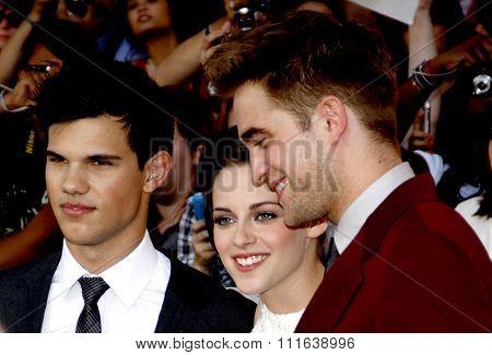 Taylor Lautner, Robert Pattinson and Kristen Stewart at