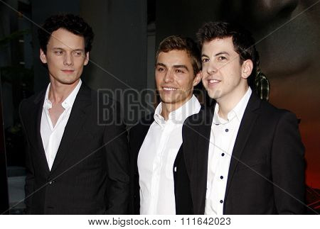 HOLLYWOOD, CALIFORNIA - August 17, 2011. Anton Yelchin, Dave Franco and Christopher Mintz-Plasse at the Los Angeles screening of
