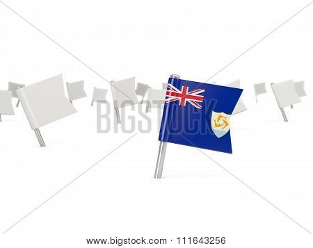 Square Pin With Flag Of Anguilla