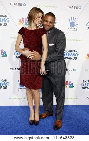 Maria Menounos and Anthony Anderson at the 2nd Annual American Giving Awards held at the Pasadena Civic Auditorium in Los Angeles, California, United States on December 7, 2012.