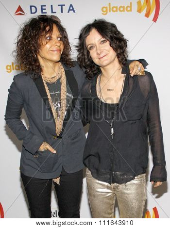 Linda Perry and Sara Gilbert at the 23rd Annual GLAAD Media Awards held at the Westin Bonaventure Hotel in Los Angeles, California, United States on April 21, 2012.