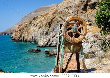 Old steering mechanism located on the rock near Sfakia on Crete island, Greece