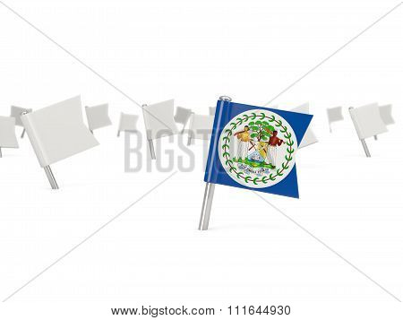 Square Pin With Flag Of Belize