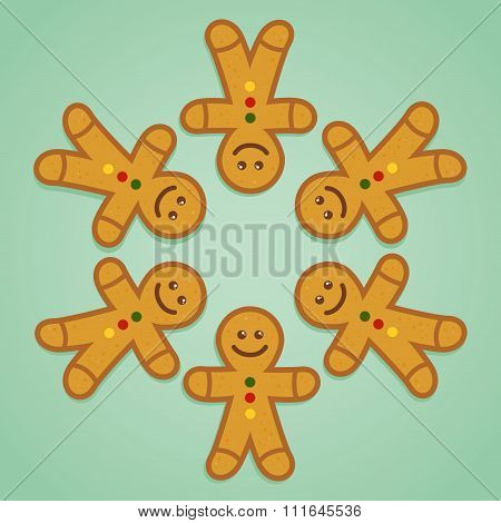 Ginger Bread Man Holding Hands In Circle