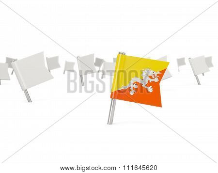 Square Pin With Flag Of Bhutan