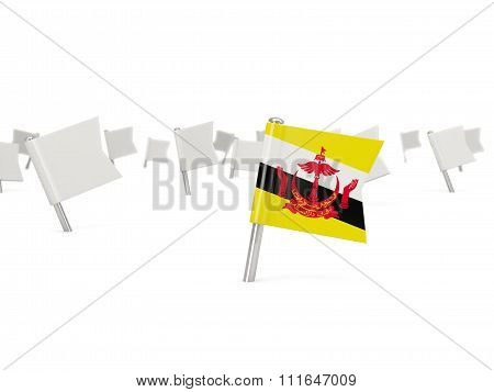 Square Pin With Flag Of Brunei