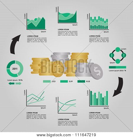 Set of Financial Infographics Elements in Green Shades Arranged in a Circle on Grey Background