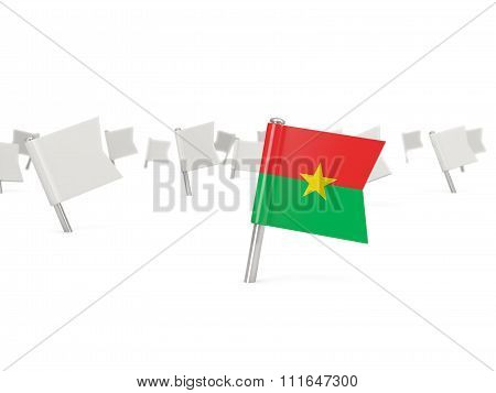 Square Pin With Flag Of Burkina Faso