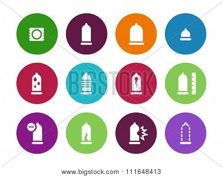 Condom pack circle icons on white background.