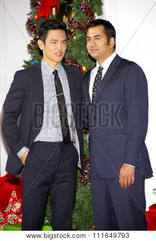 HOLLYWOOD, CALIFORNIA - November 2, 2011. Kal Penn and John Cho at the Los Angeles premiere of