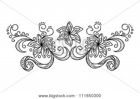 Decoration With Doodle Flowers