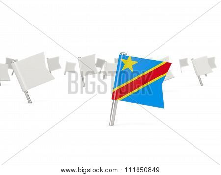 Square Pin With Flag Of Democratic Republic Of The Congo
