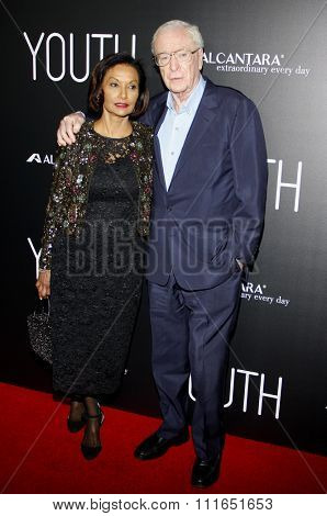 Shakira Caine and Michael Caine at the Los Angeles premiere of 'Youth' held at the DGA Theatre in Hollywood, USA on November 17, 2015.