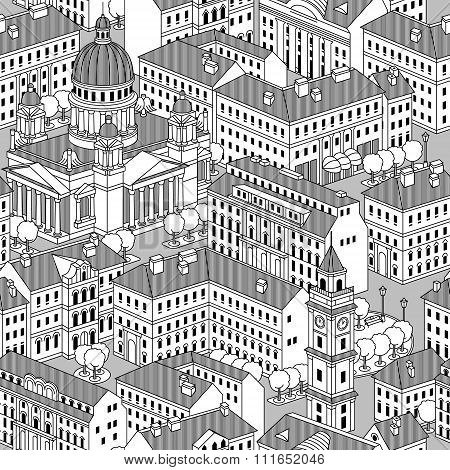 Seamless Pattern With Houses, Trees.
