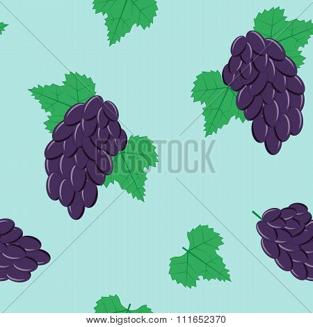 Seamless Pattern with Bunches of Black Grapes on Blue Background