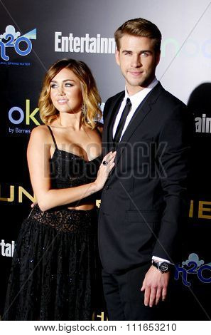 Miley Cyrus and Liam Hemsworth at the Los Angeles Premiere of