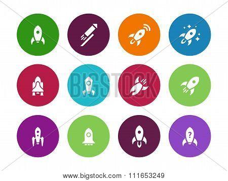Rocket circle icons on white background.