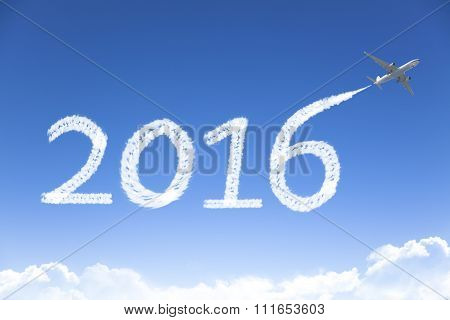 Happy New Year 2016 Drawing By Airplane In The Sky