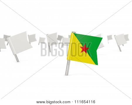 Square Pin With Flag Of French Guiana