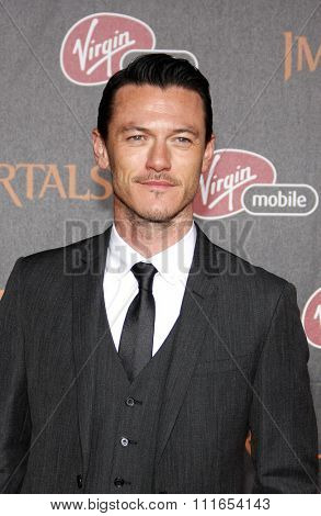 LOS ANGELES, CALIFORNIA - November 7, 2011. Luke Evans at the World premiere of