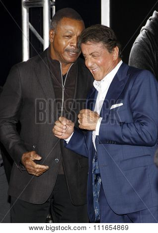 Carl Weathers and Sylvester Stallone at the Los Angeles premiere of 'Creed' held at the Regency Village Theatre in Westwood, USA on November 19, 2015.