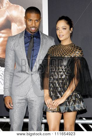 Michael B. Jordan and Tessa Thompson at the Los Angeles premiere of 'Creed' held at the Regency Village Theatre in Westwood, USA on November 19, 2015.