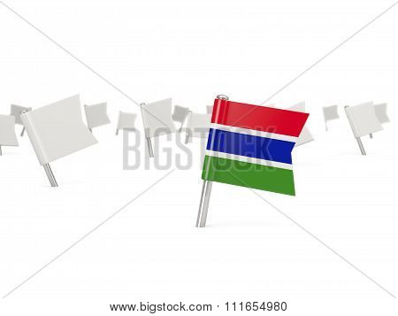 Square Pin With Flag Of Gambia
