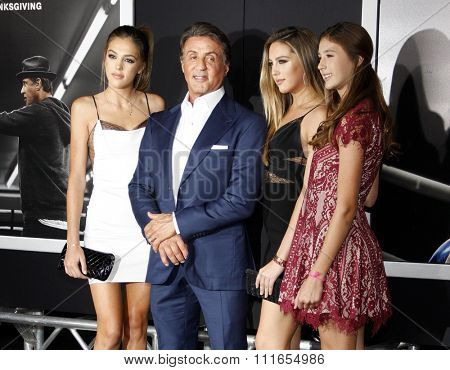 Sistine Stallone, Sylvester Stallone, Sophia Stallone and Scarlet Stallone at the Los Angeles premiere of 'Creed' held at the Regency Village Theatre in Westwood, USA on November 19, 2015.