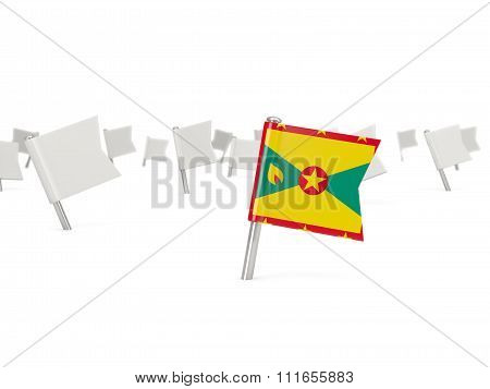 Square Pin With Flag Of Grenada