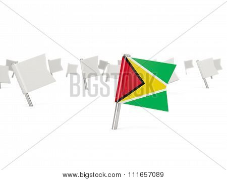Square Pin With Flag Of Guyana