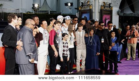 Justin Bieber, Prince Michael, Blanket and Paris Jackson at the Michael Jackson Hand And Footprint Ceremony held at the Grauman's Chinese Theater, California, United States on January 26, 2012.