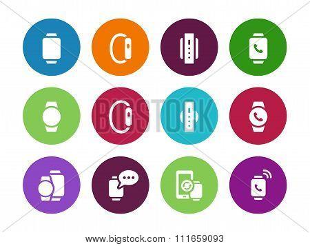 Flat modern smart watch circle icons on white background.