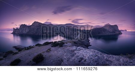 Beautiful Night Landscape With Mountains, Sea And Starry Sky