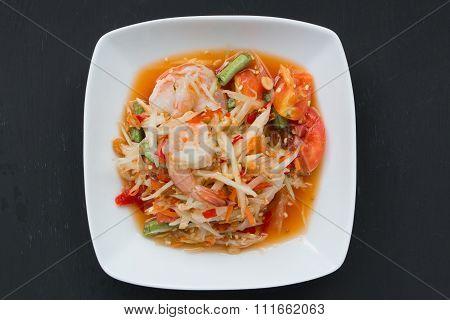 Green Papaya Salad (som Tum) With Shrim On Black Background