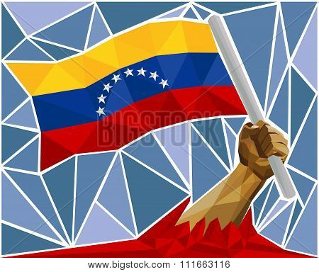 Arm Raising The National Flag Of Venezuela