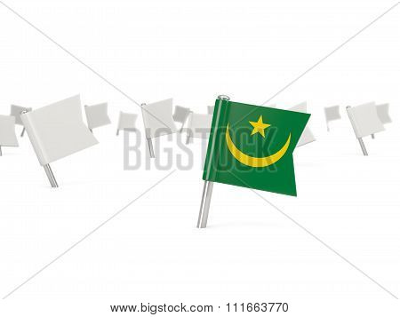 Square Pin With Flag Of Mauritania