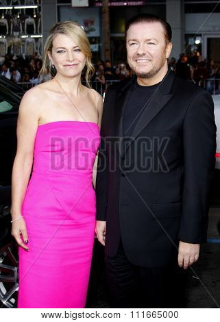 Ricky Gervais and Jane Fallon at the Los Angeles Premiere of