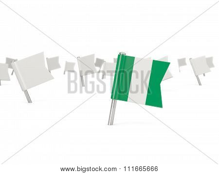 Square Pin With Flag Of Nigeria