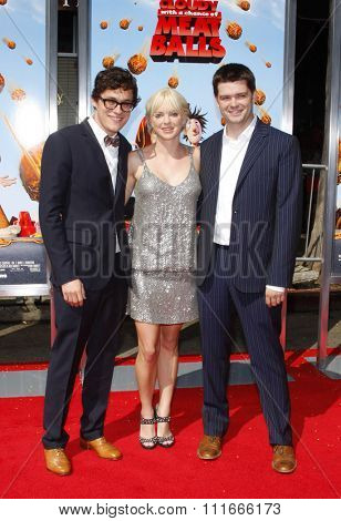 WESTWOOD, CALIFORNIA - September 12, 2009. Phil Lord, Anna Faris and Chris Miller at the Los Angeles premiere of