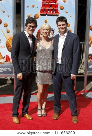 Phil Lord, Chris Miller and Anna Faris at the Los Angeles Premiere of