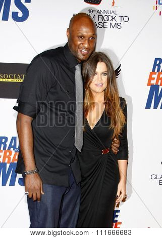 Khloe Kardashian and Lamar Odom at the 19th Annual Race To Erase MS held at the Hyatt Regency Century Plaza in Los Angeles, USA on May 18, 2012.