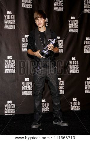 Justin Bieber at the 2010 MTV Video Music Awards held at the Nokia Theatre L.A. Live in Los Angeles, USA on September 12, 2010.