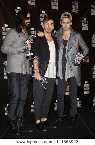 Tomo Milicevich, Shannon Leto, Jared Leto of 30 Seconds to Mars at the 2010 MTV Video Music Awards held at the Nokia Theatre L.A. Live in Los Angeles, USA on September 12, 2010.