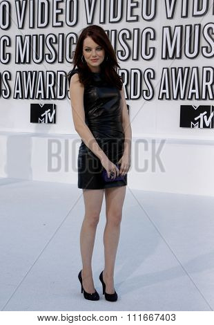 Emma Stone at the 2010 MTV Video Music Awards held at the Nokia Theatre L.A. Live in Los Angeles, USA on September 12, 2010.