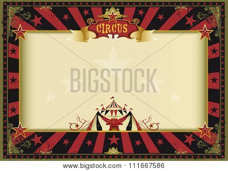 Horizontal poster red black circus. a circus red and black vintage poster for your advertising. Perfect size for a screen.