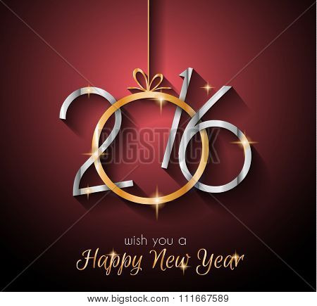 2016 Happy New YearBackground for Seasonal Greetings Cards, Parties Flyer, Dinner Invitations, Xmas Cards and sp on.