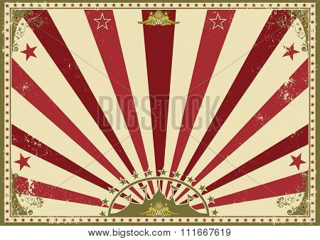 Horizontal poster sunbeams red circus. A circus vintage poster for your advertising. Perfect size for a screen.