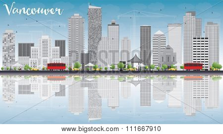 Vancouver skyline with grey buildings, blue sky and reflections. Vector illustration. Business travel and tourism concept with place for text. Image for presentation, banner, placard and web site.