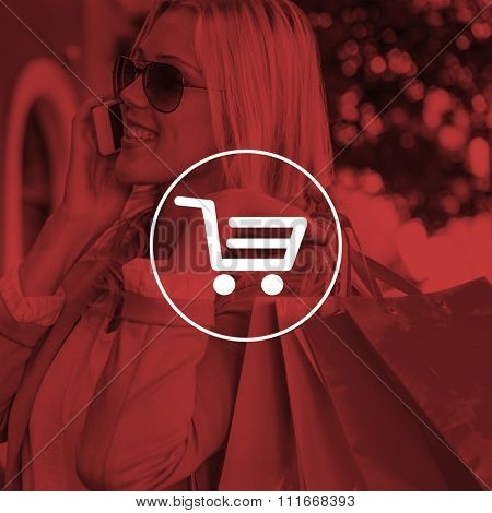 Pretty blonde talking on phone holding shopping bags against digital image of trolley